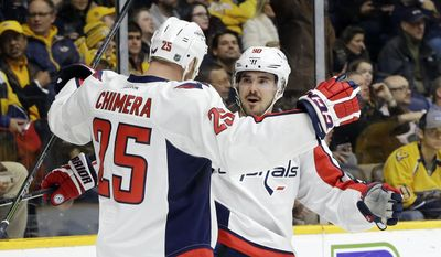 Washington Capitals left wing Jason Chimera (25) celebrates with Marcus Johansson (90), of Sweden, after Chimera scored a goal against the Nashville Predators in the first period of an NHL hockey game Tuesday, Feb. 9, 2016, in Nashville, Tenn. (AP Photo/Mark Humphrey)