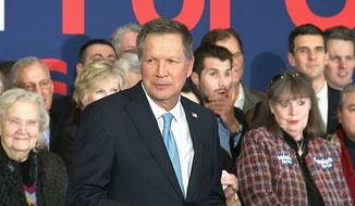 Republican presidential candidate, Ohio Gov. John Kasich thanks supporters in Concord, N.H.,Tuesday, Feb. 9, 2016, after Kasich finished second in the New Hampshire primary election. (AP Photo/Alex Sanz)
