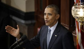 President Barack Obama delivers remarks to the Illinois General Assembly Wednesday, Feb. 10, 2016, inside the House chamber at the Illinois Capitol in Springfield, Ill. (AP Photo/Jeff Roberson)