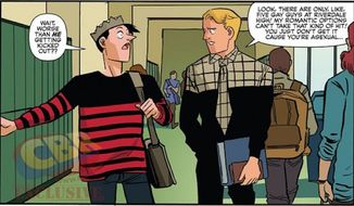 The crown-wearing, burger-chomping Archie Comics character Jughead Jones has been revealed as asexual in the Jughead No. 4 issue released Wednesday. (Archie Comics via ComicBookResources.com)