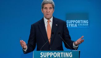 FILE - In this Feb. 4, 2016 file-pool photo, Secretary of State John Kerry at a conference entitled 'Supporting Syria & The Region,'  in London. As Kerry heads to Munich, Wednesday, Feb. 10, 2016,  in search of compromises that could yield a truce and revive peace talks that were suspended before they really started, the administration is being pressed by all sides to clarify its strategy.  (Nicholas Kamm/Pool Photo via AP, File)