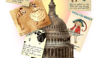 Illustration of various valentines and postcards sent to Congress in support of Woman's suffrage             The Washington Times