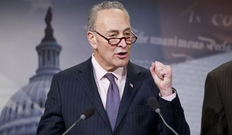 Sen. Charles Schumer, D-N.Y., speaks during a news conference on opioid and heroin abuse, Thursday, Feb. 11, 2016 , on Capitol Hill in Washington. (AP Photo/Alex Brandon)