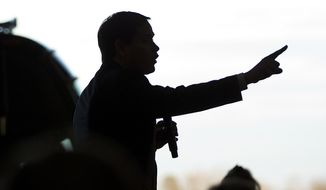 Republican presidential candidate Sen. Marco Rubio, R-Fla., speaks during a rally at Greenville Downtown Airport, Friday, Feb. 12, 2016, in Greenville, S.C. (AP Photo/John Bazemore)