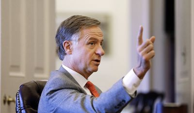 In this Feb. 11, 2016 photo, Tennessee Gov. Bill Haslam answers questions about his priorities for 2016 during an interview in Nashville, Tenn. (AP Photo/Mark Humphrey) **FILE**