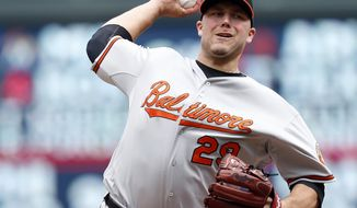 FILE - In this July 8, 2015, file photo, Baltimore Orioles pitcher Tommy Hunter throws against the Minnesota Twins in a baseball game in Minneapolis. Hunter and the Cleveland Indians have agreed to a one-year contract. A 29-year-old right-hander, Hunter was 4-2 with a 4.18 ERA in 58 relief appearances for Baltimore and the Chicago Cubs, who acquired him on July 31 for outfielder Junior Lake. (AP Photo/Jim Mone, File)