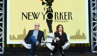 """FILE - In this Jan. 11, 2016 file photo, executive producers Alex Gibney, left, and Kahane Cooperman participate in """"The New Yorker Presents"""" panel at the The Amazon 2016 Winter TCA in Pasadena, Calif. The New Yorker regularly features a formidable mix of deeply-reported stories and profiles, fiction, slices of life, cultural coverage and cartoons. Makers of """"The New Yorker Presents"""" achieved the small miracle of capturing the magazine's rhythm and pioneering a """"60 Minutes""""-style newsmagazine with the work done by documentarians instead of news reporters. (Photo by Richard Shotwell/Invision/AP, File)"""