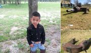 Bryan Jara, 4, was killed when a giant gun-shaped barbecue pit fell on top of him outside his home in Liberty County, Texas. (Image: Twitter @KHOUTim)