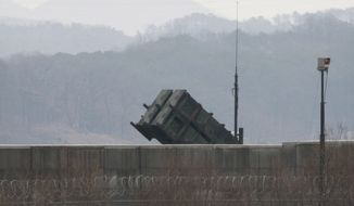 A U.S. Patriot missile is seen at the Osan U.S. Air Base in Pyeongtaek, South Korea, Saturday, Feb. 13, 2016. The United States said Saturday it temporarily deployed an additional Patriot missile battery in South Korea in response to North Korea's nuclear test and a long-range rocket launch, ahead of talks next week to set up an even more sophisticated U.S. missile defense in a move that has worried China and Russia.(AP Photo/Ahn Young-joon)