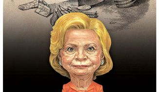Illustration comparing Hillary's situation to that of James. G. Blaine in the 19th century by Alexander Hunter/The Washington Times