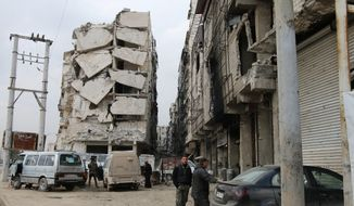 The Syrian military's response to rebel fighting has turned much of Aleppo's center to rubble. More than half of the city's inhabitants have fled, joining millions of other Syrians on the trail to refugee camps in neighboring nations or pursuing asylum in Europe. (Associated Press) ** FILE **