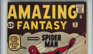 "This undated photo provided by Heritage Auctions shows the comic book ""Amazing Fantasy"" No. 15, by Marvel Comics. Figuring it would be a good investment, Walter Yacoboski bought the book for $1,200 back in 1980. The comic could fetch $400,000 or more when offered at an auction by Heritage on Feb. 18, 2016. (Heritage Auctions via AP) **FILE**"