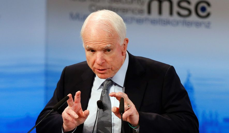 Sen. John McCain, Arizona Republican, on Monday said that he thinks a replacement for recently deceased Supreme Court Justice Antonin Scalia should be made by the next president, who will be elected in November.