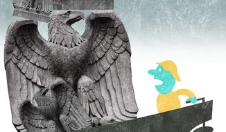 Illustration on the diminution of liberty as government grows by Alexander Hunter/The Washington Times