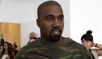 Kanye West appears at the Brother Vellies Spring 2016 collection presentation during Fashion Week in New York on Sept. 10, 2015. (Associated Press) **FILE**