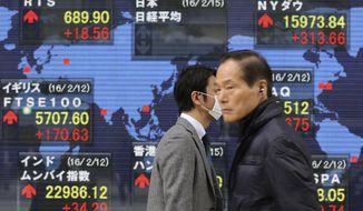 People walk by an electronic stock board of a securities firm in Tokyo, depicting a world map, in this Monday, Feb. 15, 2016, photo. (AP Photo/Koji Sasahara)