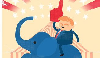 Illustration on Donald Trump's candidacy by Linas Garsys/The Washington Times