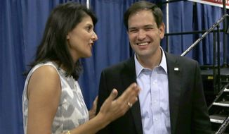 South Carolina Gov. Nikki Haley endorsed Sen. Marco Rubio's presidential bid Wednesday evening. (Associated Press)