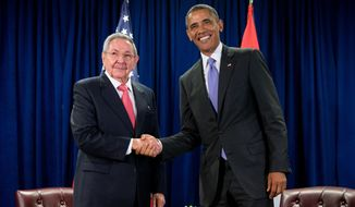 President Obama and Cuban President Raul Castro shake hands before a bilateral meeting Sept. 29, 2015, at the United Nations headquarters. (Associated Press)