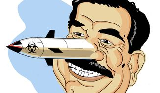 Illustration on the reasons behind Saddam Hussien's WMD deception by Alexander Hunter/The Washington Times