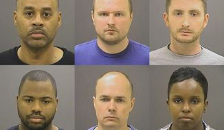 FILE - These undated photos provided by the Baltimore Police Department, show Baltimore police officers, top row from left, Caesar R. Goodson Jr., Garrett E. Miller and Edward M. Nero, and bottom row from left, William G. Porter, Brian W. Rice and Alicia D. White, charged with felonies ranging from assault to murder in the police-custody death of Freddie Gray. Maryland's highest court has put on hold trials for the six officers charged in the death of Gray. The state's Court of Appeals ruled Thursday, Feb. 18, 2016, that it would take up the issue of whether one of the officers, William Porter, whose trial in October ended in a mistrial, could be forced to testify against the other officers even though he is awaiting retrial. The issue had previously been pending in the Court of Special Appeals. (Baltimore Police Department via AP, File)
