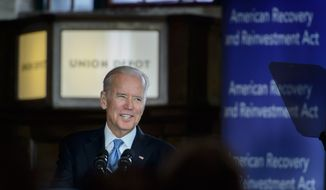 Vice President Joe Biden visits St. Paul's Union Depot train station Thursday, Feb. 18, 2016,  to mark the seventh anniversary of the economic stimulus package in  St. Paul, Minn.  Biden says projects like the restoration of an abandoned train hub in Minnesota helped bring the country back from the recession.  (Glen Stubbe/Star Tribune via AP)  MANDATORY CREDIT; ST. PAUL PIONEER PRESS OUT; MAGS OUT; TWIN CITIES LOCAL TELEVISION OUT