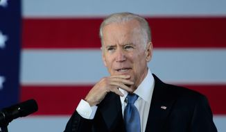 Vice President Joe Biden speaks during a visit at St. Paul's Union Depot train station Thursday, Feb. 18, 2016, to mark the seventh anniversary of the economic stimulus package in  St. Paul, Minn. (Glen Stubbe/Star Tribune via AP)  ** FILE **