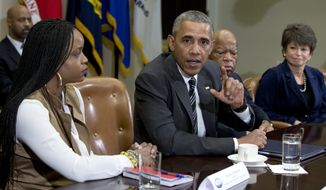 President Barack Obama speaks to the media at a meeting with civil rights leaders in the Roosevelt Room of the White House in Washington, Thursday, Feb. 18, 2016. From left are, Brittany Packnett, the president, Rep, John Lewis, D-Ga., and Senior White House Adviser Valerie Jarrett. During the meeting the president discussed a range of issues, including the Administration's efforts on criminal justice reform, building trust between law enforcement and the communities they serve and the President's priorities during his final year in office. (AP Photo/Carolyn Kaster)