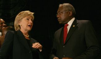 Democratic presidential hopeful U.S. Sen. Hillary Rodham Clinton, D-N.Y., left, speaks with U.S. Rep Jim Clyburn, D-S.C., at the 91st Annual NAACP Freedom Fund Banquet on Saturday, Sept. 15, 2007, in Charleston, S.C. (AP Photo/Alice Keeney)