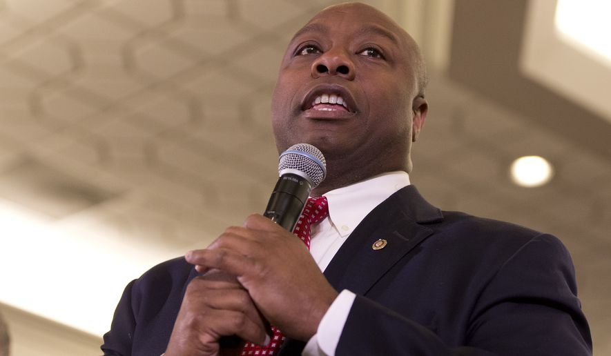 Sen. Tim Scott, R-S.C., speaks during a rally for Republican presidential candidate Sen. Marco Rubio, R-Fla., Friday, Feb. 19, 2016, in Columbia, S.C. (AP Photo/John Bazemore)