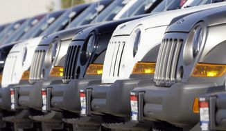 A long line of unsold 2006 Jeep Libertys sit on the back lot of a Chrysler Jeep dealership in the southeast Denver suburb of Centennial, Colo., in this Oct. 22, 2006 file photo.  (AP Photo/David Zalubowski, File) **FILE**
