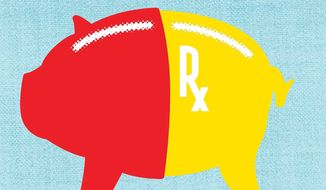 Illustration on excessive pharmaceutical costs by Linas Garsys/the Washington Times