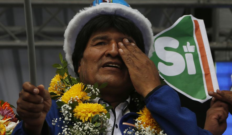 Bolivia's President Evo Morales wipes his eye during a campaign rally in El Alto, Bolivia, on Feb. 17. (Associated Press)