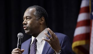 Republican presidential candidate Ben Carson speaks during a town hall meeting Sunday, Feb. 21, 2016, in Reno, Nev. (AP Photo/Marcio Jose Sanchez) ** FILE **