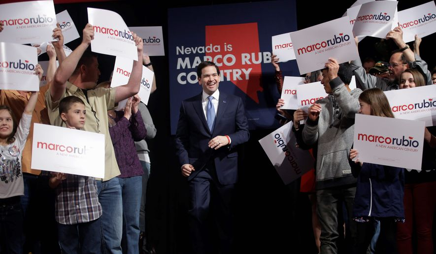 Anxious at the ongoing winning streak of Donald Trump, the establishment wing of the Republican Party is coalescing around fellow presidential candidate Sen. Marco Rubio of Texas. (Associated Press)