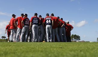 Washington Nationals players gather on the field for a spring training baseball workout, Sunday, Feb. 22, 2015, in Viera, Fla. (AP Photo/David Goldman)