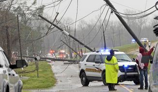 Damage from a tornado is seen Tuesday near Convent, La. (The Advocate via Associated Press)