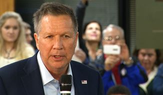 Republican presidential candidate, Ohio Gov. John Kasich speaks at a town hall meeting at Kennesaw State University in Kennesaw, Ga., Tuesday, Feb. 23, 2016. (AP Photo/Alex Sanz)