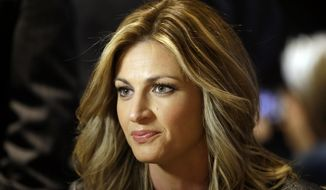 FILE - In this Jan. 28, 2014, file photo, sportscaster Erin Andrews speaks during an interview at the NFL Super Bowl XLVIII media center in New York. An attorney for Andrews told a jury Tuesday, Feb. 23,2016, that she felt horror, shame and humiliation when she discovered that someone had secretly filmed her nude and posted the video on the Internet.  (AP Photo/Matt Slocum, File)