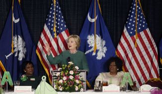 Democratic presidential candidate Hillary Clinton speaks at an Alpha Kappa Alpha Sorority luncheon in West Columbia, S.C., Wednesday, Feb. 24, 2016. Left is (AP Photo/Gerald Herbert)