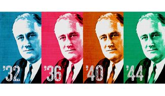 FDR Elected Four Times Illustration by Greg Groesch/The Washington Times