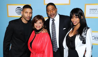 Actress, dancer and honoree Debbie Allen, second left, and family Norman Nixon Jr., from left, Norm Nixon Sr., and Vivian Nixon attend the Essence 9th Annual Black Women in Hollywood Luncheon at the Beverly Wilshire Hotel on Thursday, Feb. 25, 2016, in Beverly Hills, Calif. (Photo by Vince Bucci/Invision/AP)