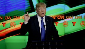 Republican presidential candidate, businessman Donald Trump  speaks during a Republican presidential primary debate at The University of Houston, Thursday, Feb. 25, 2016, in Houston. (AP Photo/David J. Phillip)