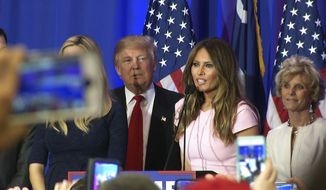 FILE - In a Saturday, Feb. 20, 2016 file photo, Melania Trump, the wife of Republican presidential candidate Donald Trump, addresses supporters of her husband's campaign in Spartanburg, South Carolina. Donald Trump's glamorous model wife traces her roots back to a sleepy industrial town in Slovenia, where she grew up in Communist-era apartment blocks overlooking a river and ever-smoking factory chimneys.  (AP Photo/Alex Sanz, File)