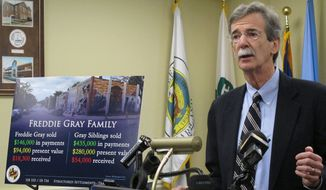 Maryland Attorney General Brian Frosh calls for reforms to structured settlement cases for lead paint cases during a news conference in Annapolis, Md., on Thursday, Feb. 25, 2016. (AP Photo/Brian Witte) ** FILE **