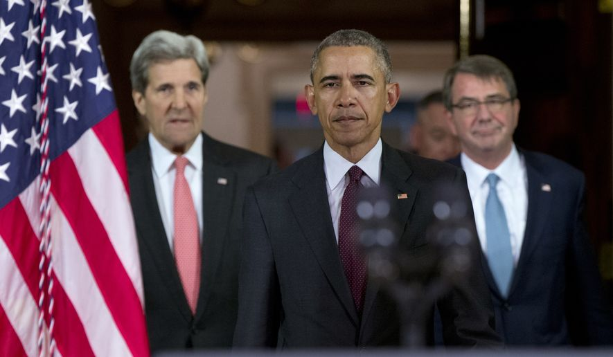 President Barack Obama, center, followed by Secretary of State John Kerry, left, and Defense Secretary Ash Carter right, walks to a podium to speak to media after a meeting of his National Security Council (NSC) at the State Department in Washington, Thursday, Feb. 25, 2016. The meeting focused on the global campaign to degrade and destroy ISIL as well as Syria and other regional issues. (AP Photo/Carolyn Kaster)