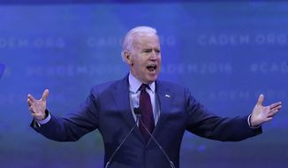 Vice President Joe Biden gestures while giving the keynote address at the California Democrats State Convention Saturday, Feb. 27, 2016, in San Jose, Calif. (AP Photo/Ben Margot)
