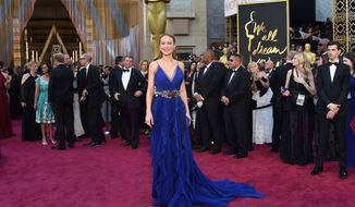 Brie Larson arrives at the Oscars on Sunday, Feb. 28, 2016, at the Dolby Theatre in Los Angeles. (Photo by Richard Shotwell/Invision/AP)
