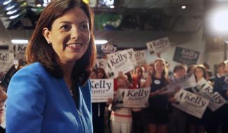 FILE - In this June 30, 2015, file photo U.S. Sen. Kelly Ayotte, R-N.H., announces her plans to seek a second term Manchester, N.H. Ayotte faces a tough re-election battle against Democratic Gov. Maggie Hassan in what will be one of the key races to determine control of the Senate. (AP Photo/Jim Cole, File)
