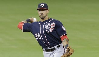 Washington Nationals shortstop Ian Desmond (20) prepares to throw to first base after fielding a ground ball during a baseball game against the Miami Marlins  Friday, Sept. 11, 2015, in Miami. (AP Photo/Alan Diaz)